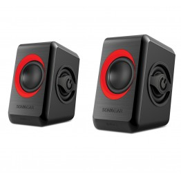 ΗΧΕΙΑ SONIC GEARS USB POWERED QUAD BASS SPEAKERS 2,0 BLACK FESTIVE RED
